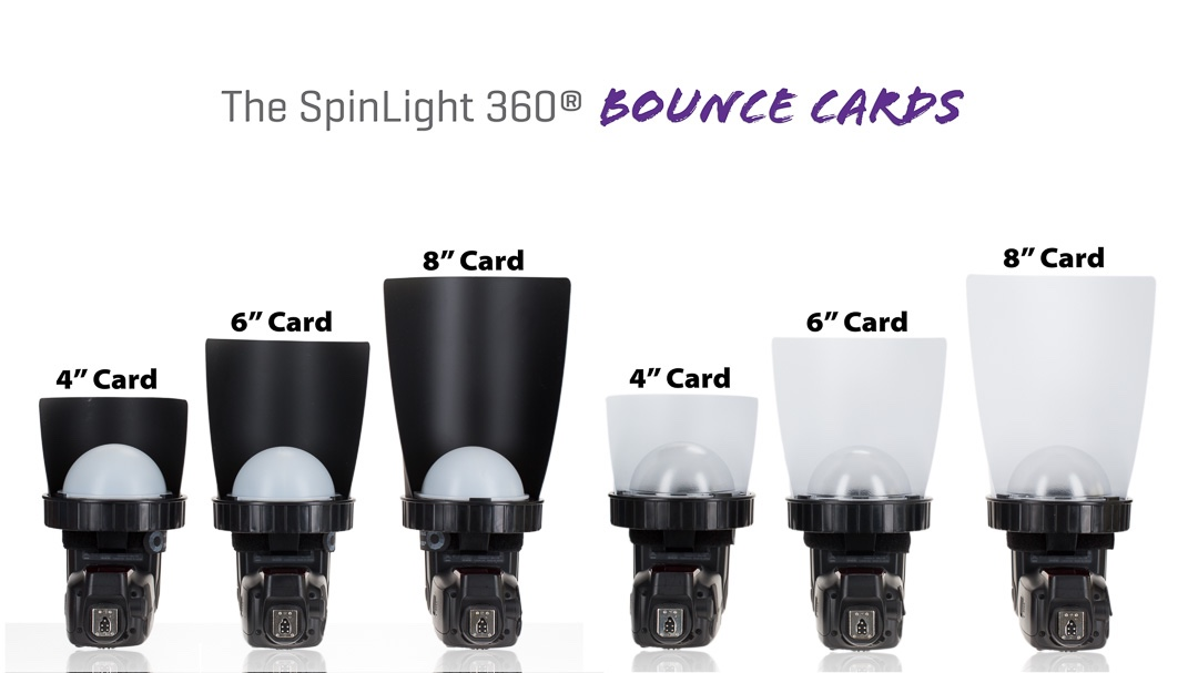 "Spinlight 360 4"" 6"" 8"" cards bounce flag gobo Spinlight360.com"