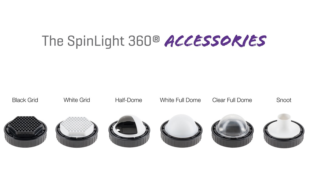 Spinlight 360 accessories black grid half-dome half dome white dome clear snoot Spinlight360.com